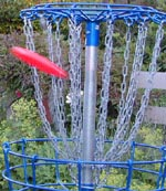 Frisbee landing in basket